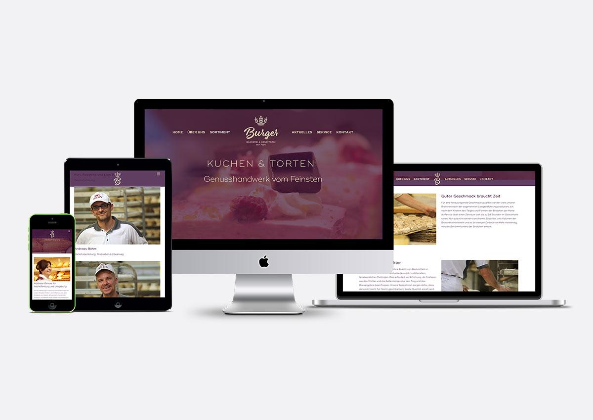 Website für die Bäckerei & Konditorei Burger, Aschaffenburg