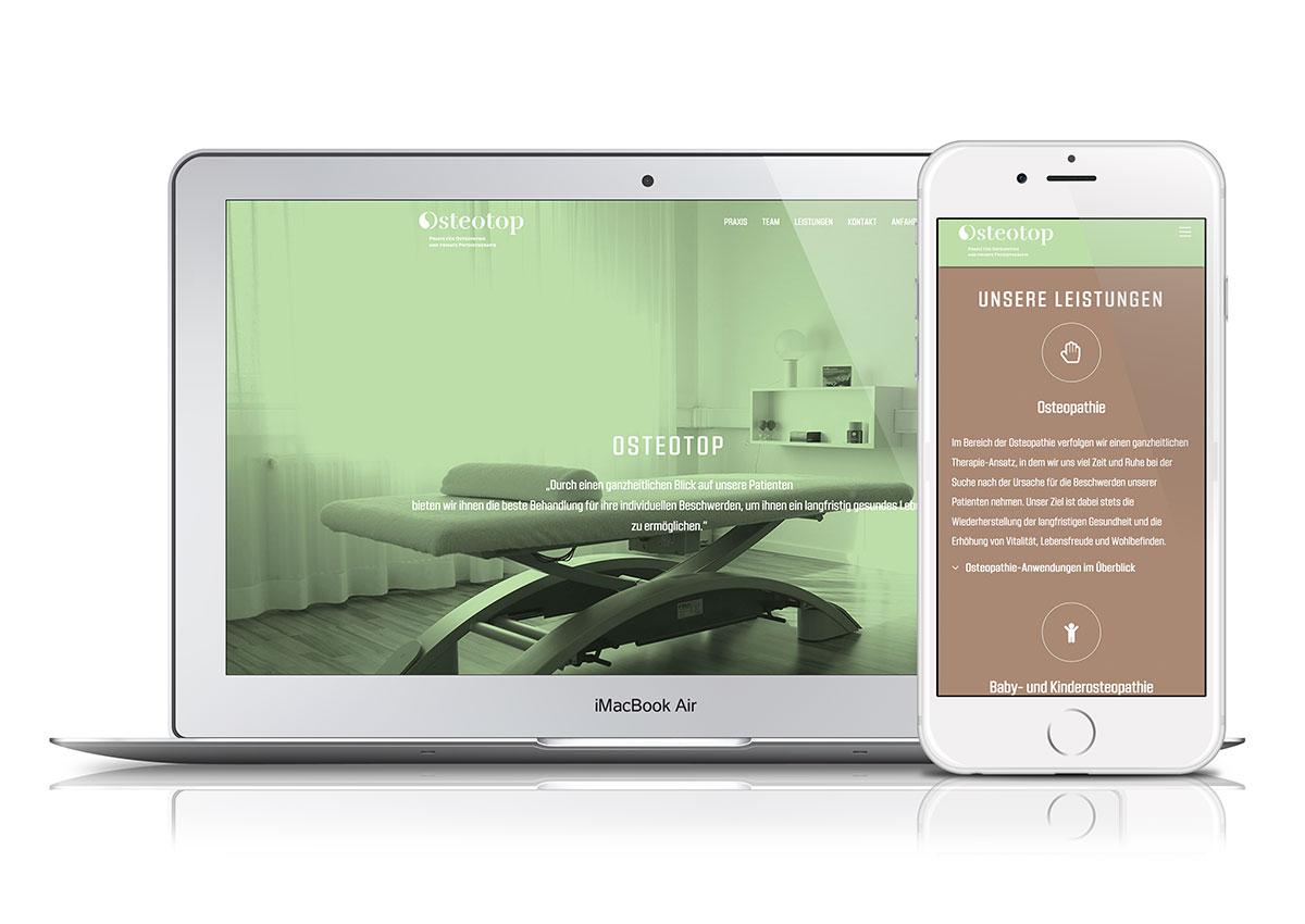 OnePage-Website für die Praxis Osteotop, Aschaffenburg
